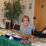 Pastor Lisa enjoying some of the donated baked goods.